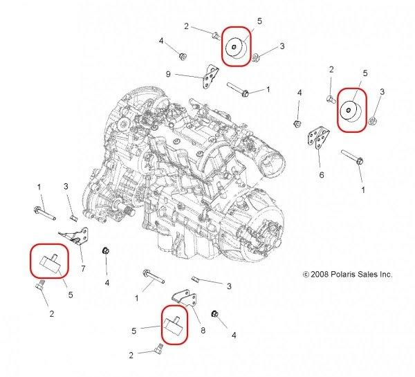 Poduszka silnika Sportsman, Scrambler 850/1000 3022154, 3022000