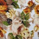 Tkanina len z bawełną pomarańczowe róże SL 24  roses light