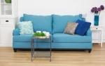 Niebieska sofa obicie lniane Lukrecja 215 cm/FS