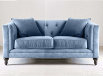 Niebieska sofa dwuosobowa z pikowanym oparciem Donna 160 cm