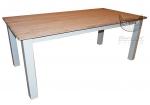 Biały stół z blatem z litego dębu 160x90 Retro Scandinavia