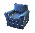Granatowy fotel z kontrastową lamówką obicie na stałe Flower