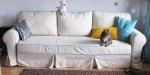 Rozkładana sofa z pokrowcem z dodatkiem lnu - Marie wer.