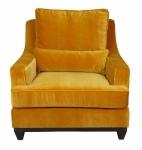 Żółty fotel gruba pluszowa tkanina Lukrecja