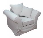 Szeroki fotel z niskim oparciem obicie plamoodporne Federica