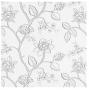 Biała tkanina wyszywane szare kwiaty Ivy col. 03