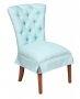 Krzesło z pikowanym oparciem i falbaną miętowe obicie Rosalyn