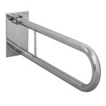 WC Klappgriff für barrierefreies Bad aus rostfreiem Edelstahl 75 cm ⌀ 32 mit Abdeckplatten