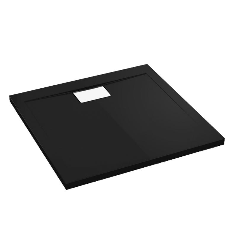 Schwarze Duschwanne für barrierefreies Bad 140 x 90 cm