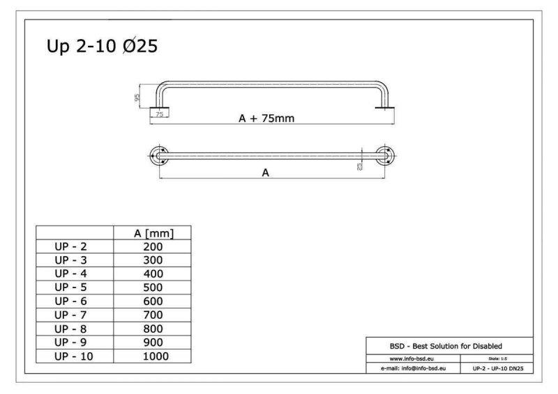 Gerader Handlauf für barrierefreies Bad 90 cm  aus rostfreiem Edelstahl ⌀ 25 mm