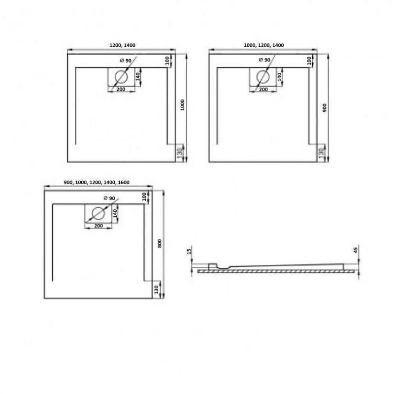 Weiße Duschwanne für barrierefreies Bad 100 x 80 cm