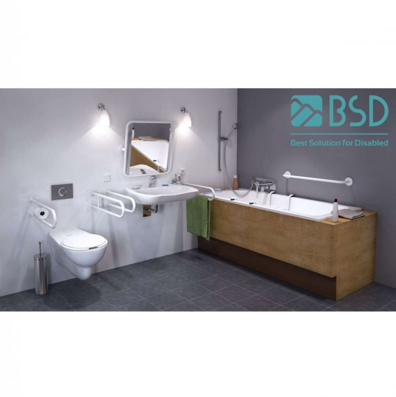 Klappgriff am WC für barrierefreies Bad freistehend mit Toilettenpapierhalter weiß 50 cm ⌀ 32 mm