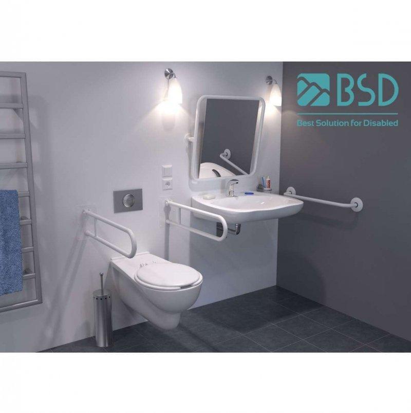 Handlauf für barrierefreies Bad 200 cm weiß ⌀ 32 mm mit Abdeckrosetten
