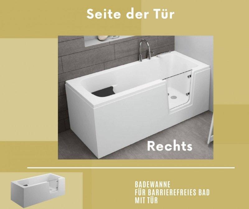 Badewanne für barrierefreies Bad mit Tür rechts und integrierter abnehmbarer Sitzbank für Senioren AVO 180 cm