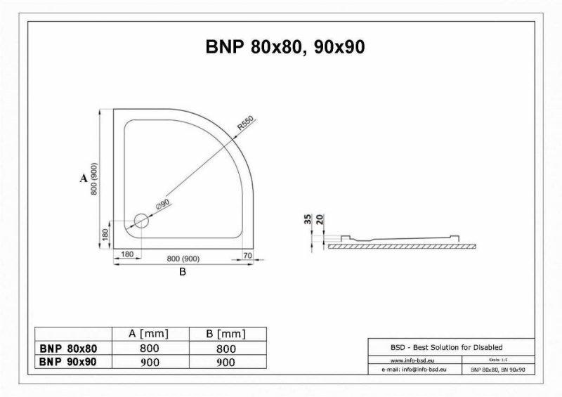 Halbrunde Duschwanne für barrierefreies Bad 80 x 80 cm