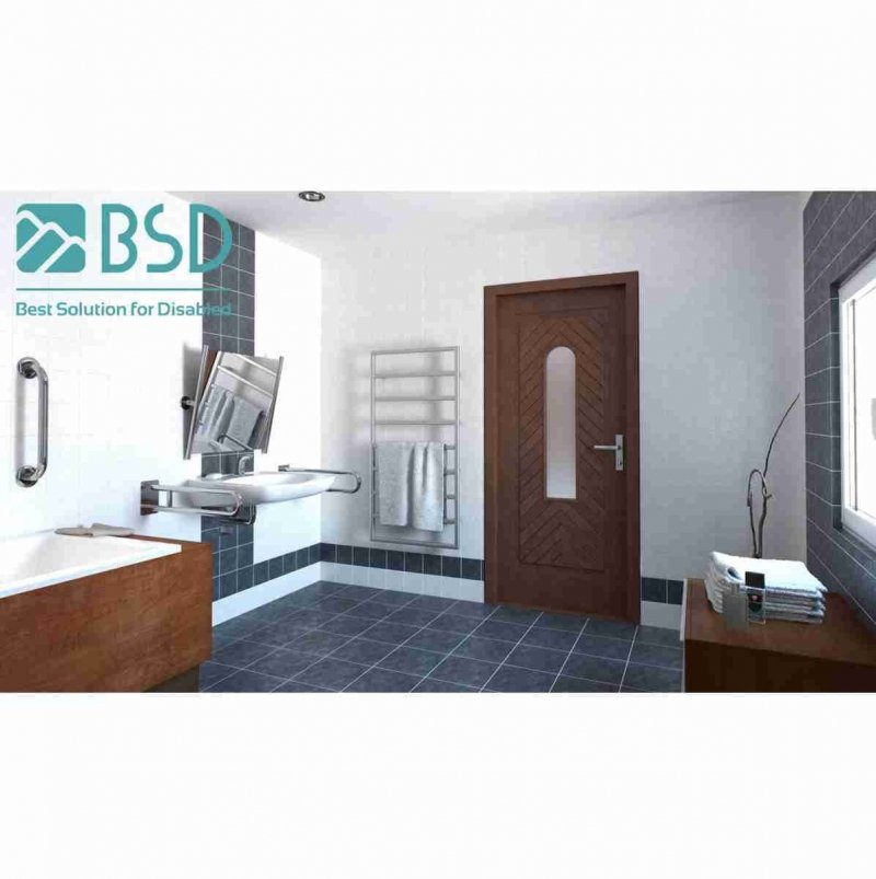 WC Klappgriff für barrierefreies Bad 80 cm aus rostfreiem Edelstahl ⌀ 25 mm