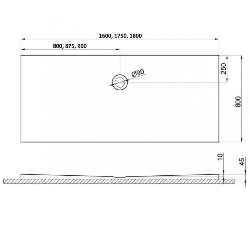 Duschwanne für barrierefreies Bad mit Abfluss seitlich in der Mitte 175 x 75 cm
