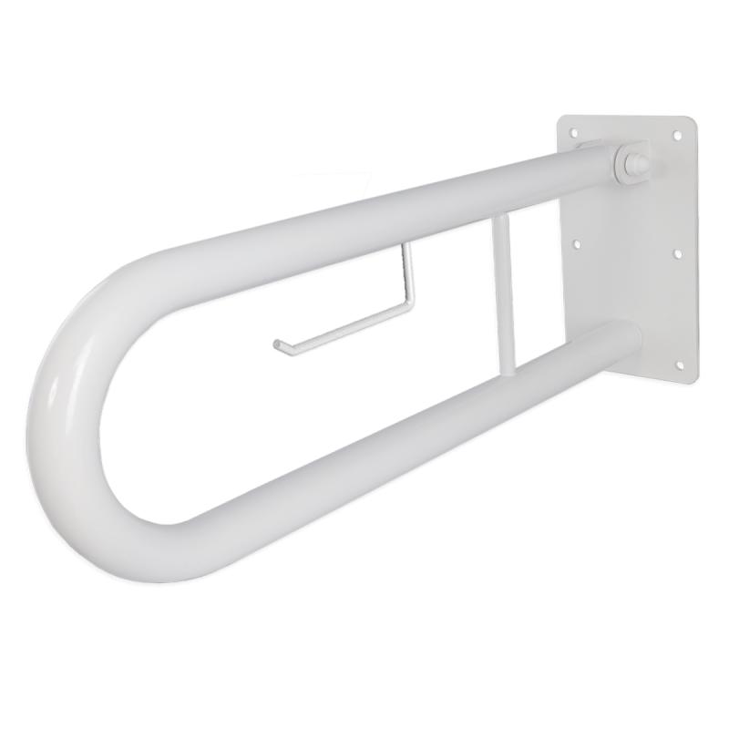 WC - Klappgriff für barrierefreies Bad mit Toilettenpapierhalter weiß 70 cm ⌀ 32 m
