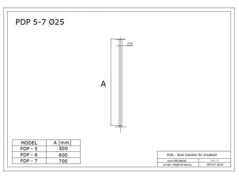 Deckenbefestigung für Duschvorhangstange aus Edelstahl 60 cm