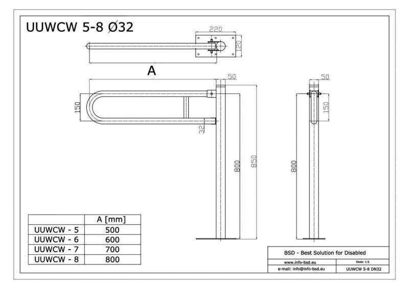 WC Klappgriff für barrierefreies Bad zur Bodenmontage 75cm aus rostfreiem Edelstahl ⌀ 32 mit Abdeckplatten