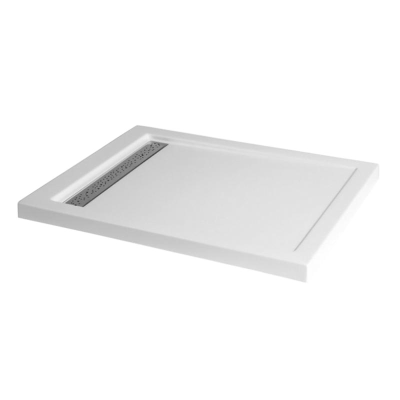 Duschwanne mit Duschrinne für barrierefreies Bad 100 x 80 cm