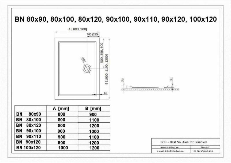 Duschwanne mit Abfluss seitig für barrierefreies Bad 120 x 80 cm