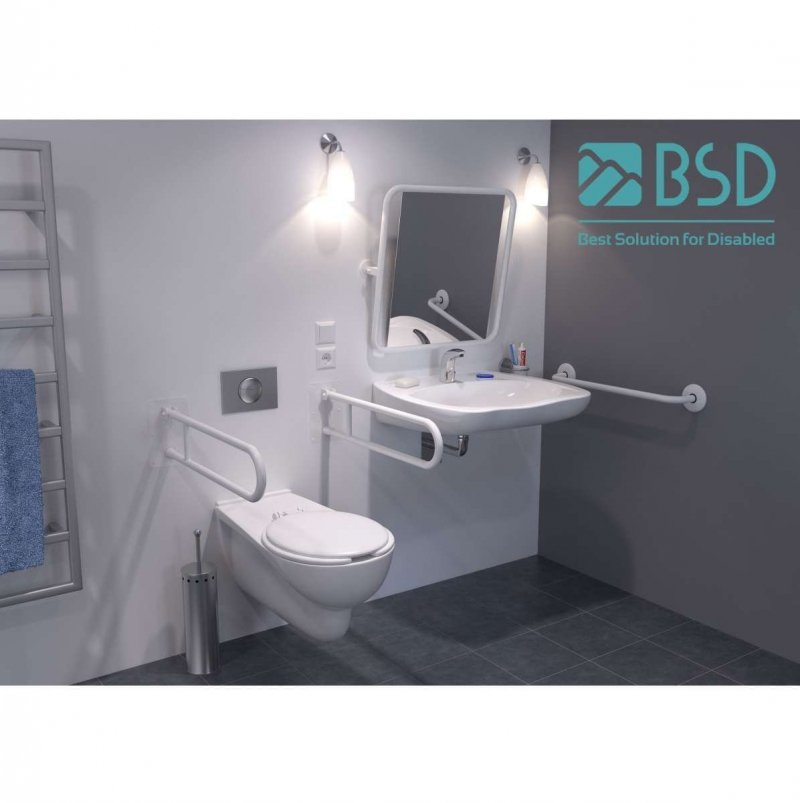 WC - Stützgriff für barrierefreies Bad rechts montierbar weiß 80 cm ⌀ 32 mm mit Abdeckrosetten