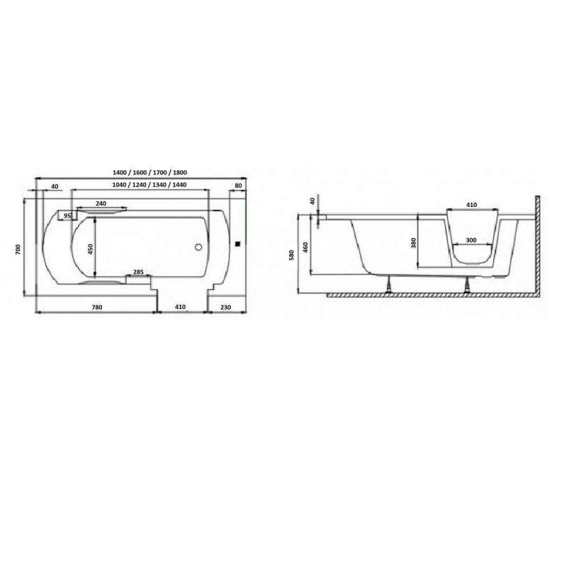 Frontpaneel für VOVO Badewanne 170 cm schwarz