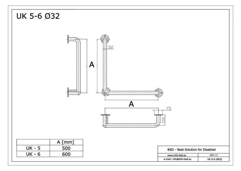 Winkelgriff 50/50 cm für barrierefreies Bad links/rechts montierbar weiß ⌀ 32 mm