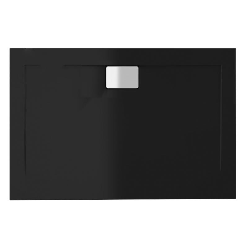 Schwarze Duschwanne für barrierefreies Bad 140 x 80 cm