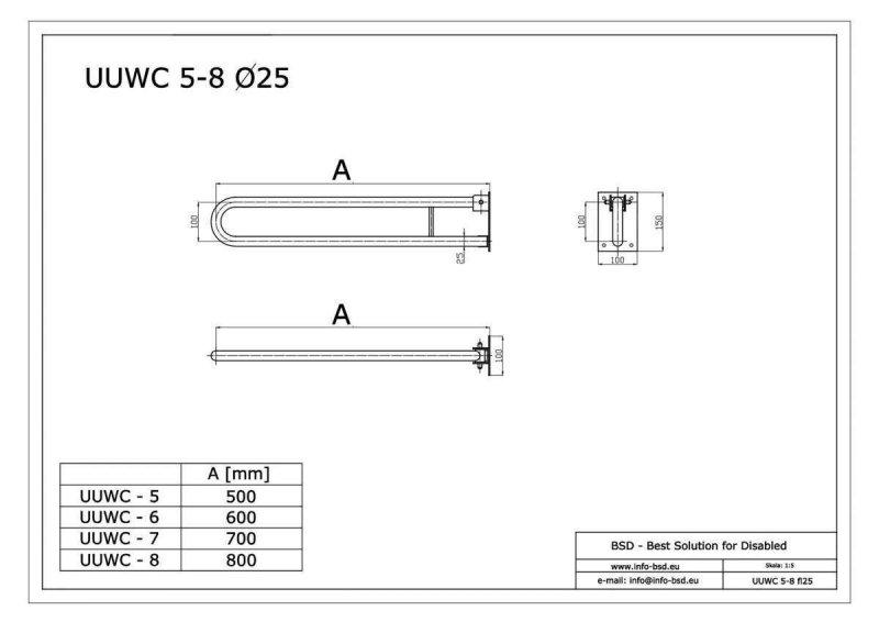 WC Klappgriff für barrierefreies Bad weiß 70 cm ⌀ 25 mm