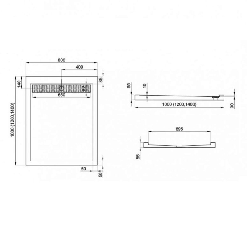 Duschwanne mit Duschrinne für barrierefreies Bad 120 x 80 cm