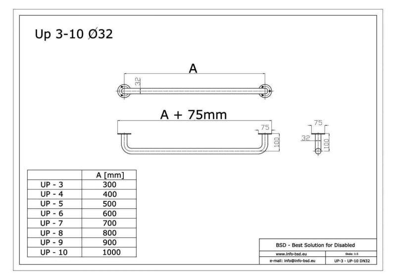 Haltegriff für barrierefreies Bad 100 cm weiß ⌀ 32 mm mit Abdeckrosetten
