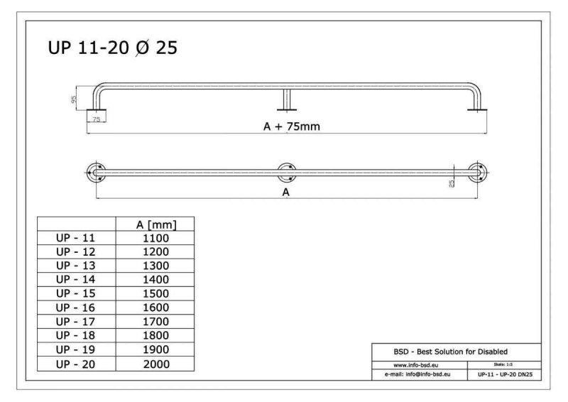 Gerader Handlauf für barrierefreies Bad 160 cm  aus rostfreiem Edelstahl ⌀ 25 mm