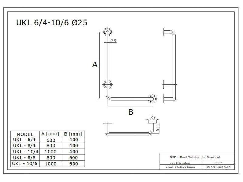 Winkelgriff 80/60 cm für barrierefreies Bad links montierbar weiß ⌀ 32 mm