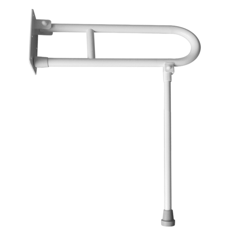 Klappgriff am WC oder Waschbecken  für barrierefreies Bad mit Stützbein weiß 60 cm ⌀ 32 m