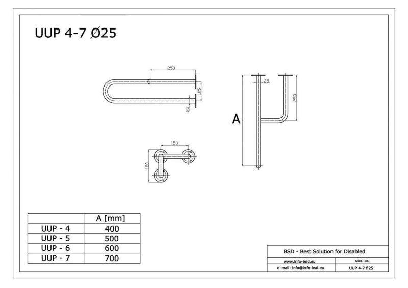 Stützgriff für barrierefreies Bad rechts montierbar 50 cm ⌀ 25 mm