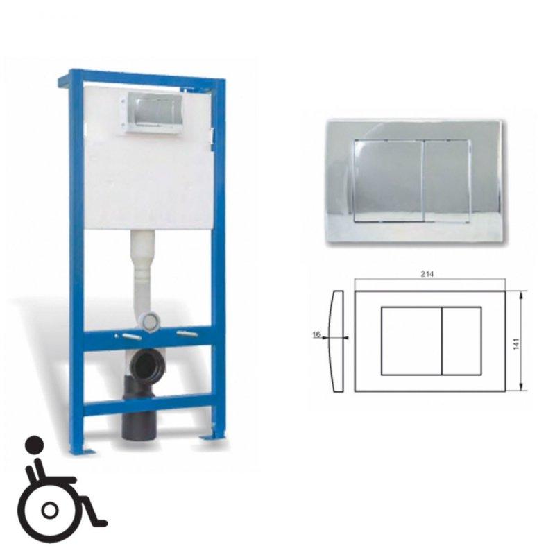 WC-Vorwandelement mit Unterputz-Spülkasten mit Betätigungstaste chrom