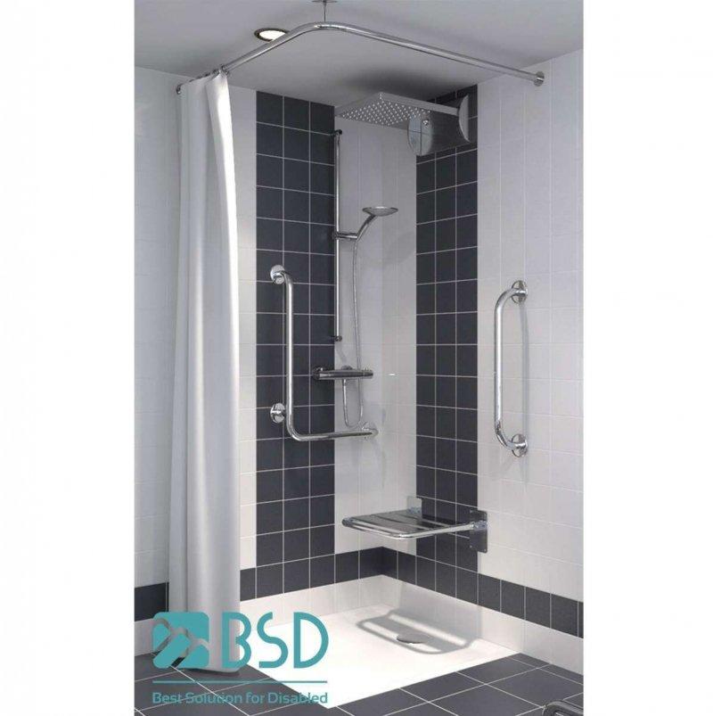 Verstellbare winkelförmige Duschvorhangstange aus Edelstahl 80 x 80 cm