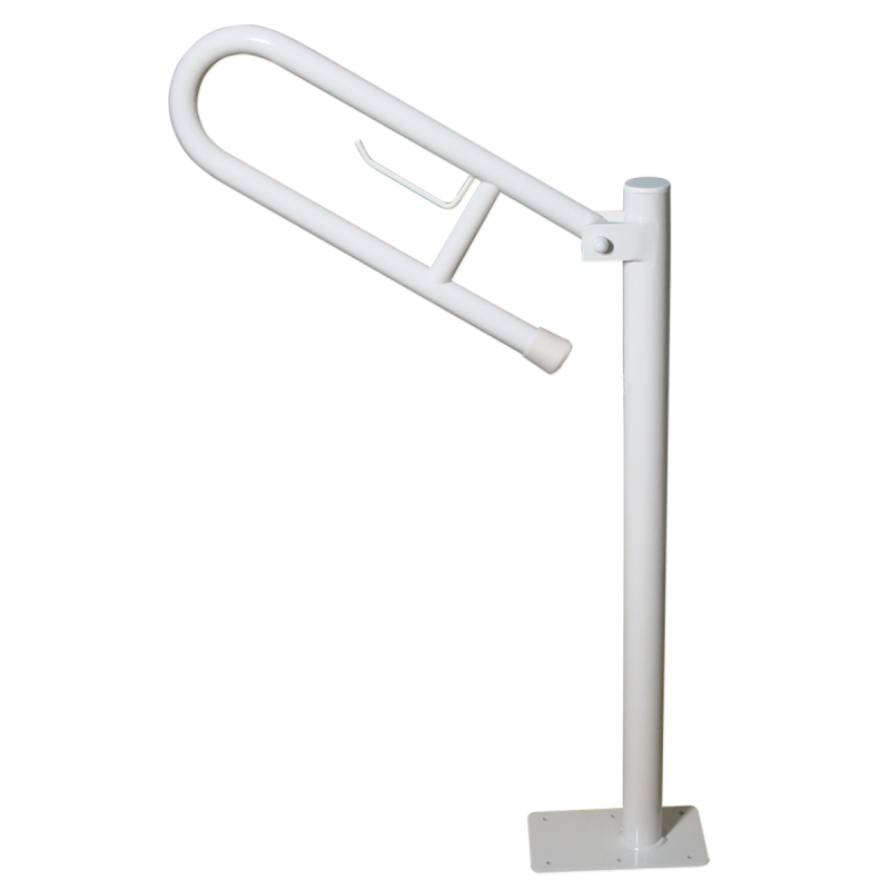 WC - Klappgriff für barrierefreies Bad freistehend mit Toilettenpapierhalter weiß 70 cm ⌀ 32 mm