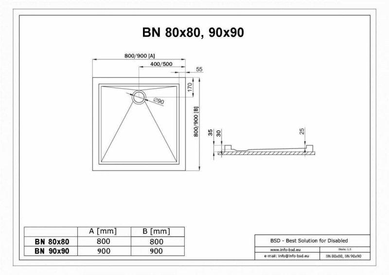 Duschwanne mit Abfluss seitig für barrierefreies Bad 90 x 90 cm
