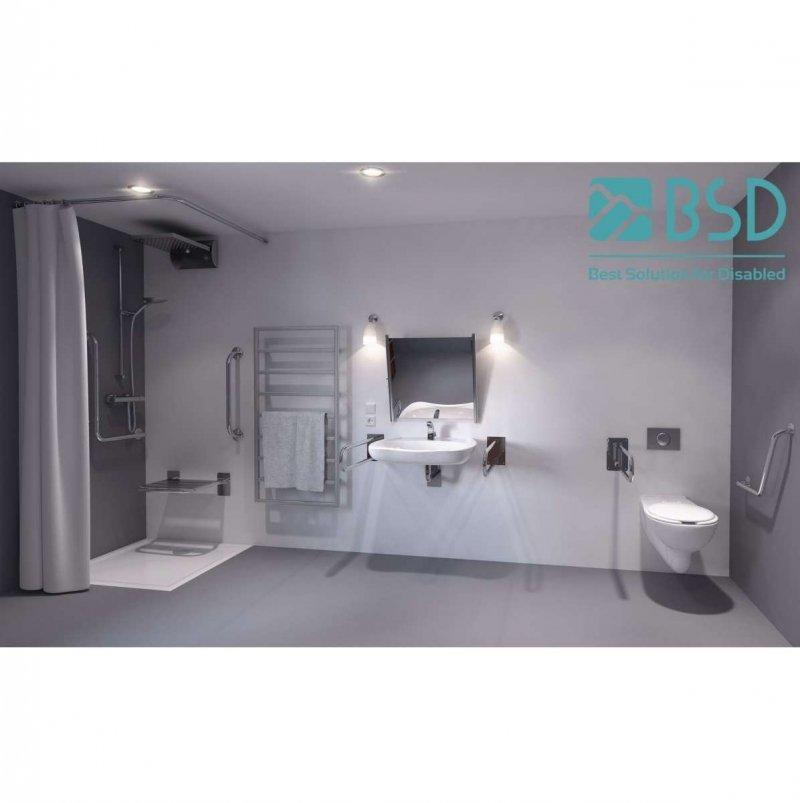 WC-Stützgriff für barrierefreies Bad links montierbar 70 cm aus rostfreiem Edelstahl ⌀ 25 mm