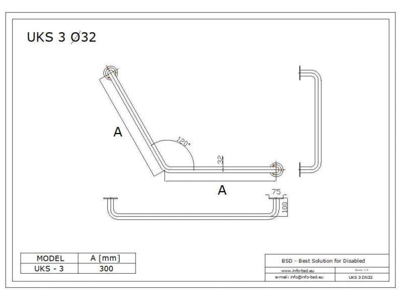 Stumpfwinkelgriff 30/30 cm für barrierefreies Bad weiß ⌀ 32 mm