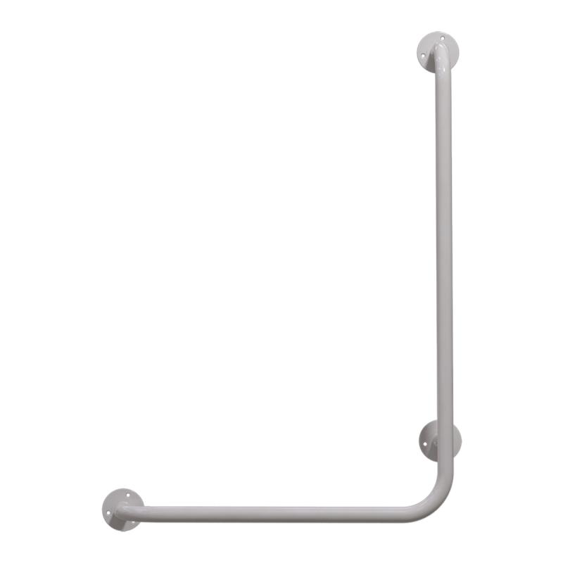 Winkelgriff 80/60 cm für barrierefreies Bad rechts montierbar weiß ⌀ 25 mm