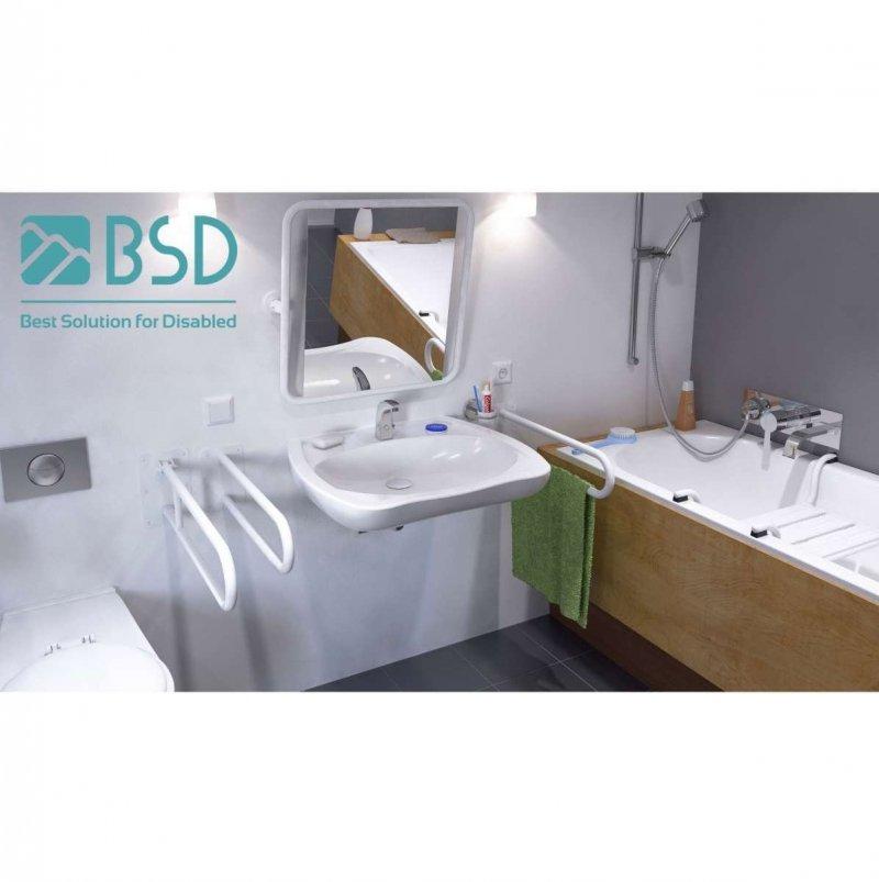 WC - Stützgriff für barrierefreies Bad zur Bodenmontage rechts 80 cm hoch weiß ⌀ 25 mm
