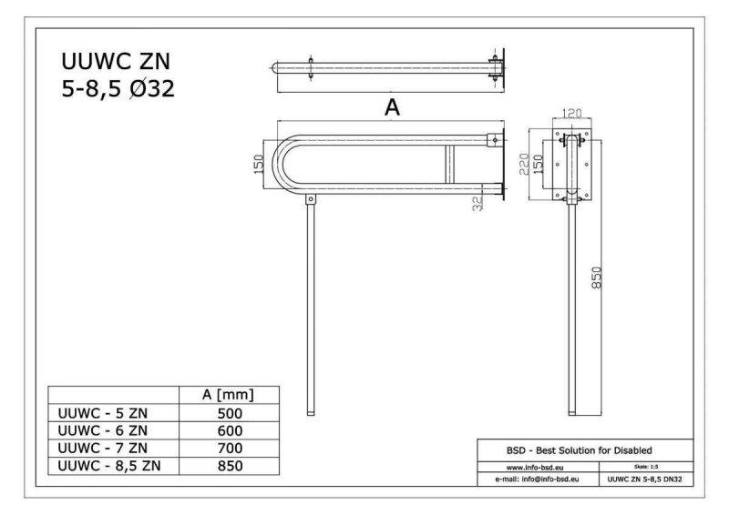 WC-Klappgriff für barrierefreies Bad mit Stützbein weiß 85 cm ⌀ 32 m