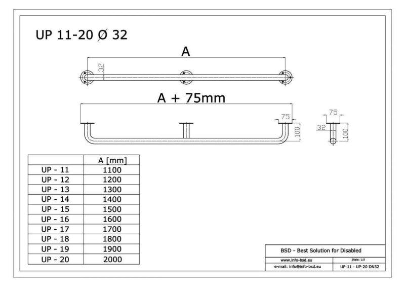 Handlauf für barrierefreies Bad 150 cm aus rostfreiem Edelstahl ⌀ 32 mm