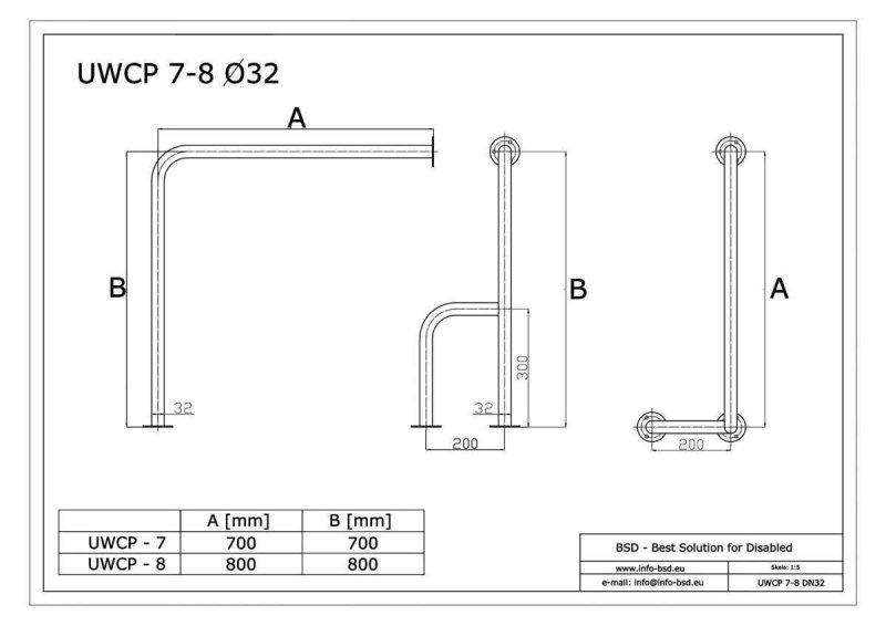 WC Stützgriff für barrierefreies Bad rechts montierbar weiß 80 cm ⌀ 32 mm
