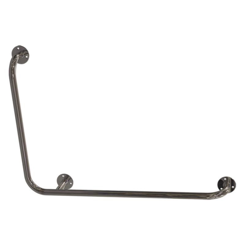 Winkelgriff für barrierefreies Bad 100/60 cm rechts montierbar aus rostfreiem Edelstahl ⌀ 25 mm