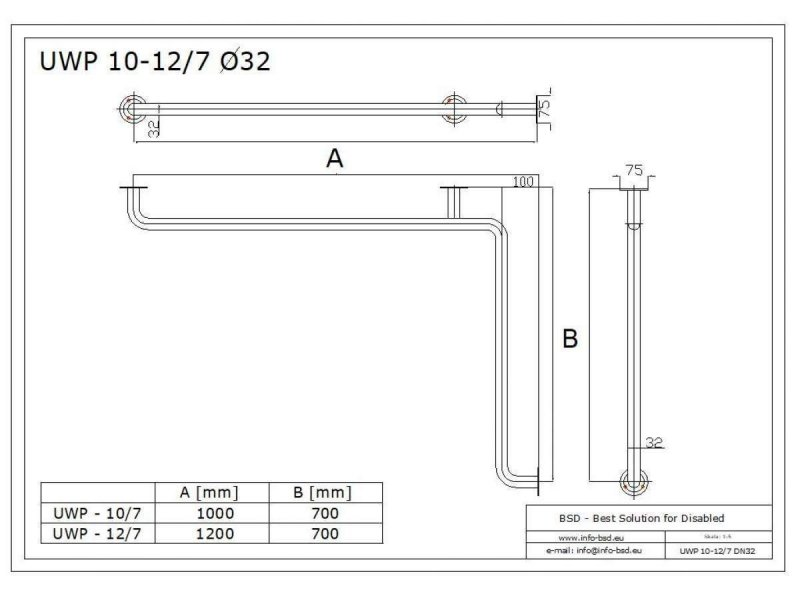 Handlauf für Badewanne für barrierefreies Bad 100/70 cm weiß ⌀ 32 mm mit Abdeckrosetten